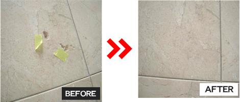石材補修(玄関タイル表面部分欠け)